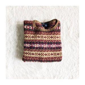 Polo RL 100% Wool Fair Isles Print Sweater Med